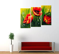 wall arts red poppies oil painting canvas home decor cheap 3
