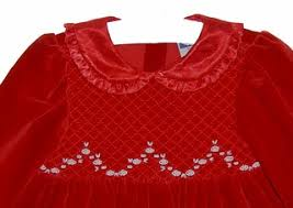 new carriage boutiques red velvet smocked dress with satin ruffled