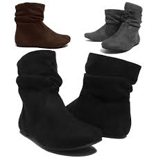 womens boots for flat womens wrinkle slouch ankle boots flat heel suede