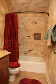 Red And White Bathroom Ideas by Cream Wall Paint Mirror With Wooden Frame White Granite Countertop