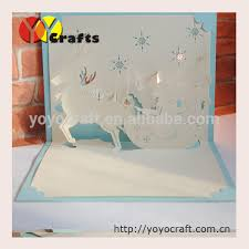 greeting cards wholesale hot sell christmas greeting card laser cut pop up reindear