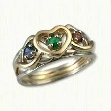 one mothers ring 14kt custom mothers ring with two white strands and one yellow