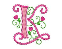 letter k alphabet for lil princess hearts applique
