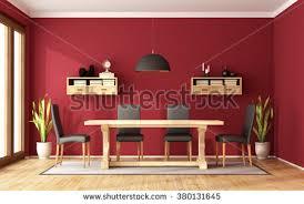 elegant dining room wooden table white stock illustration 74830084