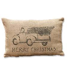 burlap truck merry pillow tree gift