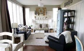 Narrow Leather Sofa Narrow Living Room Design With Leather Sofa And Shag Rug And