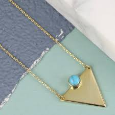 turquoise stone necklace triangle necklace with stone by lisa angel notonthehighstreet com