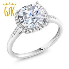 gem gold rings images Gem stone king 2 15 ct cushion created moissanite 10k white gold jpg
