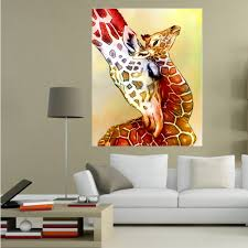 aliexpress com buy lovely giraffe painting handmade modern