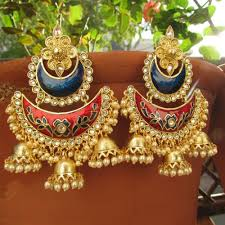 chandbali earrings buy and blue golden chandbali earrings online beyondgallery