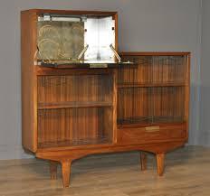 Sliding Door Bookcase Retro 1960s Small Teak Glass Sliding Door Bookcase Cabinet With