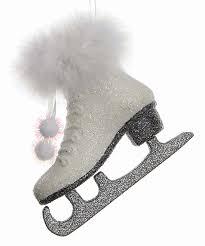 white glitter skate ornament zulily