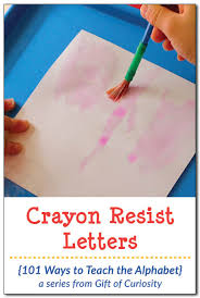 find the crayon resist letters 101 ways to teach the alphabet
