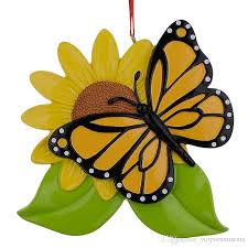 resin personalized butterfly ornaments with sunflower as