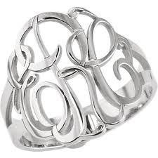 monogram ring 3 letter monogram ring j m jewelry