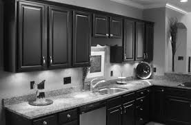 white kitchen cabinets tile floor island black granite top how to