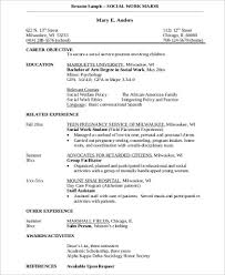 Example Social Work Resume by Examples Of Social Work Resumes Social Worker Resume Template