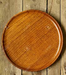 Wooden Table Empty Wooden Plate On The Old Wooden Table Stock Photo Picture