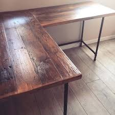 Diy Wood Desk Reclaimed Wood Dining Table Diy L Shaped Desk Pipe Legs Industrial