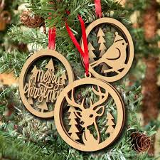 wooden christmas double layer laser cut hollow hanging pendant