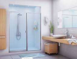 glass shower door half wall blue paint wall decoration bathroom ideas frosted glass shower