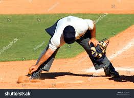 Home Plate Baseball by Baseball Umpire Dusting Off Dirt Home Stock Photo 3232635