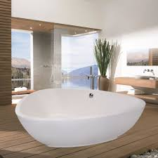 Composite Bathtub Rounded Drop In Bathtub Surrounded By Carrera Marble Tile
