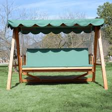 bench outsunny deluxe seater wooden garden outdoor swing chair
