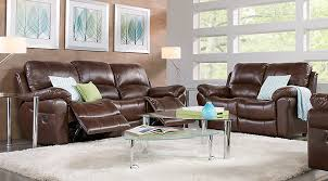 Reclining Sofa Leather Vercelli Brown Leather 3 Pc Living Room With Reclining Sofa