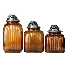 amber glass canister with grapes lid set of 3 at home at home