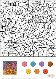 seahorse color by number free printable coloring pages