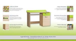 Schreibtisch 55 Cm Tief Jugendzimmer Schreibtisch Dennis 10 Farbe Esche Grün