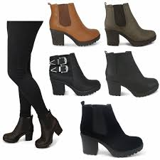 chelsea chunky block heel grip sole ankle boots shoes