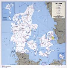 large scale political and administrative map of denmark with roads