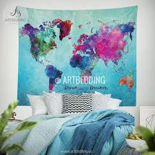 Watercolor Map Of The World by World Map Watercolor Wall Tapestry Grunge World Map Wall Tapestry