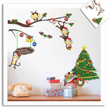 christmas tree wall decals christmas lights decoration cute colourful pvc removable christmas monkeys tree 3d wall sticker home decor wall decals for kids