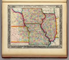 County Map Of Missouri Illinois Missouri Iowa Nebraska And Kansas David Rumsey