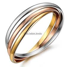 color bangle bracelet images 7 87 quot tri colour triple bangle gold color ttanium steel bracelets jpg