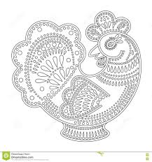 coloring rooster ornament stock vector image 78490576
