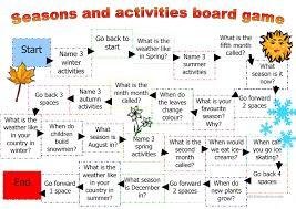 board game for seasons and activities worksheet free esl