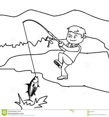 boy fishing fish coloring page stock illustration image 86598711
