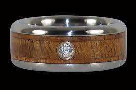 wood engagement rings wide titanium ring for hawaii titanium rings
