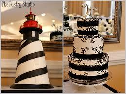 florida lighthouse groom u0027s cake with elegant black u0026 wedding cake