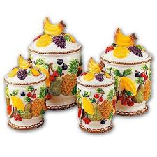 mixed fruit 3 dimensional majolica 4 canisters set new by kmc kk