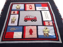 firemen fire truck bedding full queen quilt set embroidered cotton