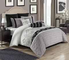 8 piece temsia gray white black comforter set