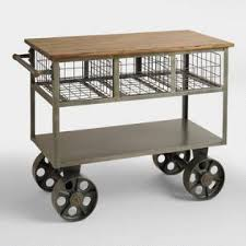 industrial iron wood kitchen trolley natural black buy kitchen kitchen carts furniture decor ideas world market