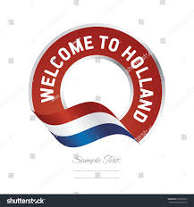 Hollanda Flag Welcome Holland Flag Red Label Logo Stock Vektorgrafik 659258581