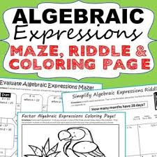 translating verbal expressions into algebraic expressions worksheets algebraic expressions mazes riddles coloring pages