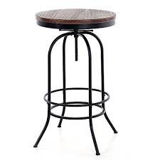 Industrial Bistro Table Amazon Com Ikayaa 24inch Bar Pub Table Round Pinewood Industrial